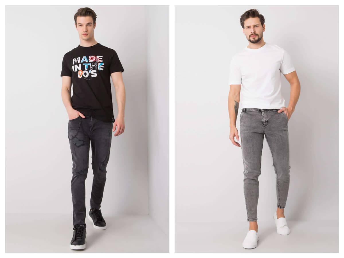 Klasyczne jeansy męskie w kolorze szarym