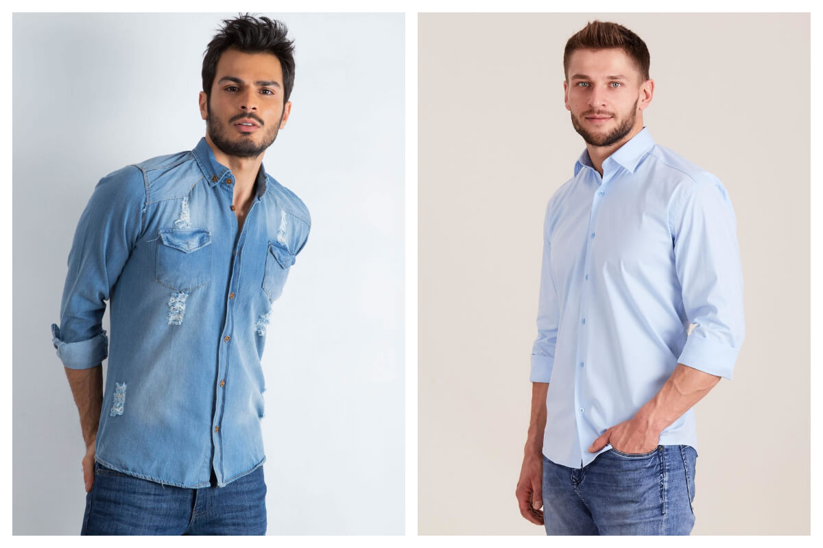 Elegancka i sportowa koszula męska na lato w kolorze niebieskim