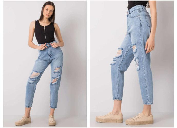 Jeansowe spodnie z wysokim stanem z przetarciami