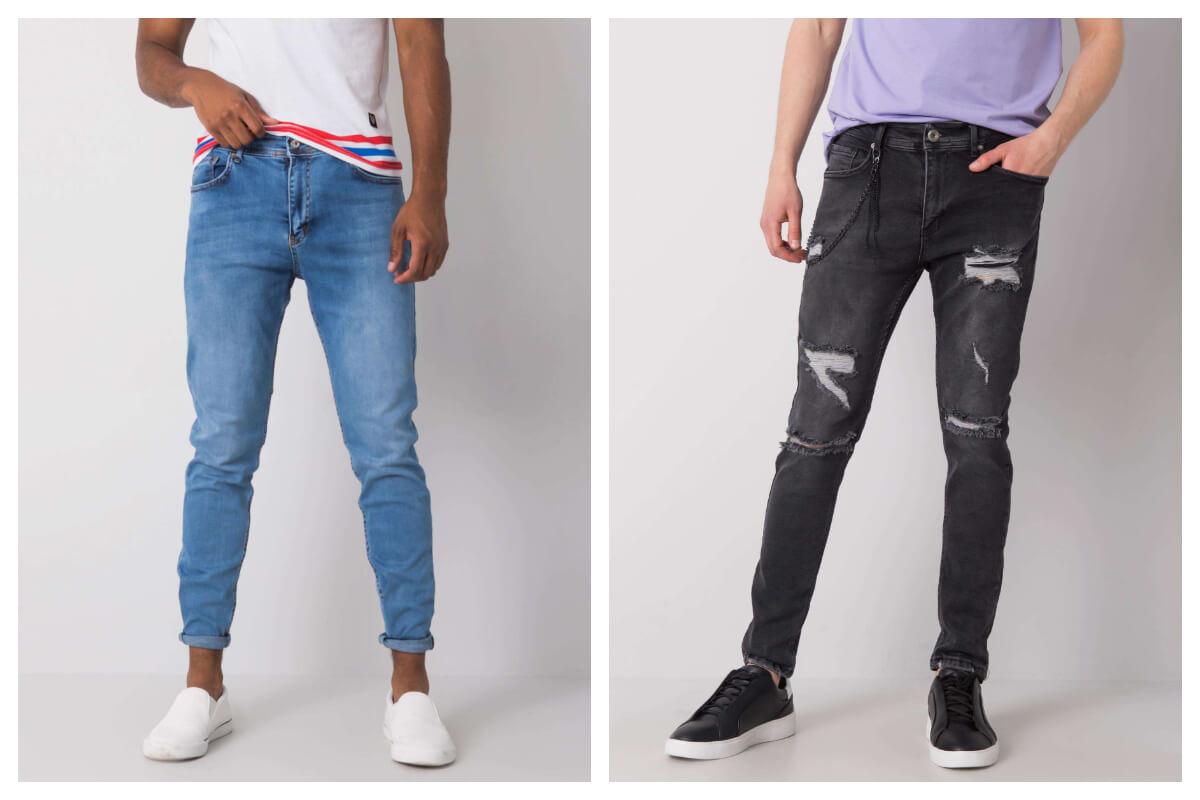 Modne spodnie jeans męskie z przetarciami