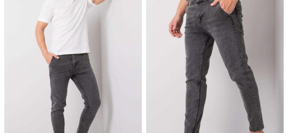 Szare spodnie jeans slim fit w stylizacji z t-shirtemm i adidasami