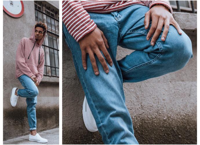 męskie jeansy casualowe