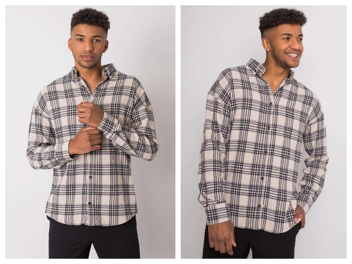 Męska koszula w kratę o prostym ktroju